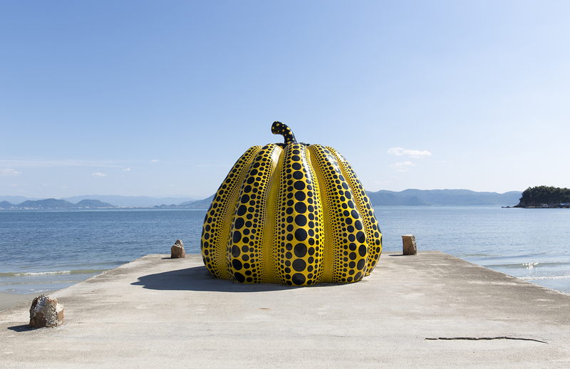 Kusama Yayoi pumpkin on Naoshima. Editorial credit: Anthony Shaw Photography / Shutterstock.com