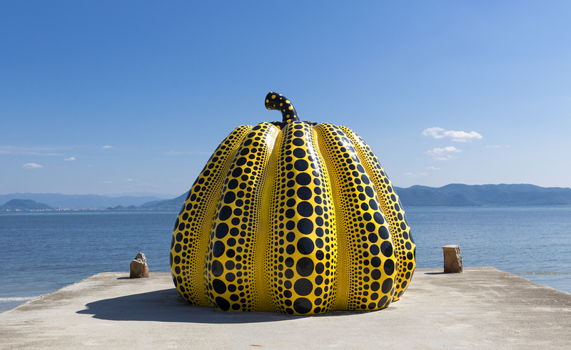 Kusama Yayoi's pumpkin sculpture on Naoshima. Editorial credit: Anthony Shaw Photography / Shutterstock.com