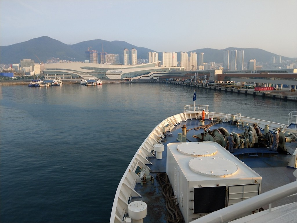 Arriving in Busan on a beautiful morning.