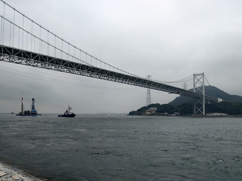 Kanmon Bridge on a rainy day.