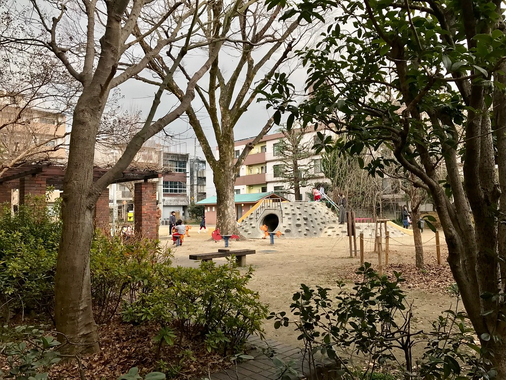 A nice sandy playground for the children.