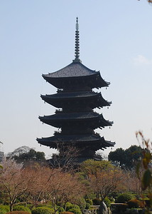 Toji Temple --- Its five-tiered pagoda is 57m tall, making it the highest wooden tower in Japan