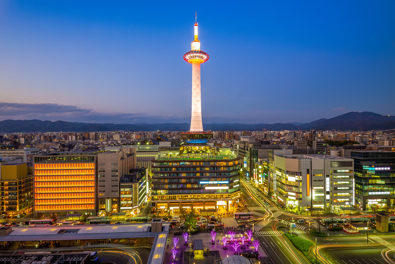 Kyoto Tower in the early evening. Editorial credit: PHOTOGNAME / Shutterstock.com