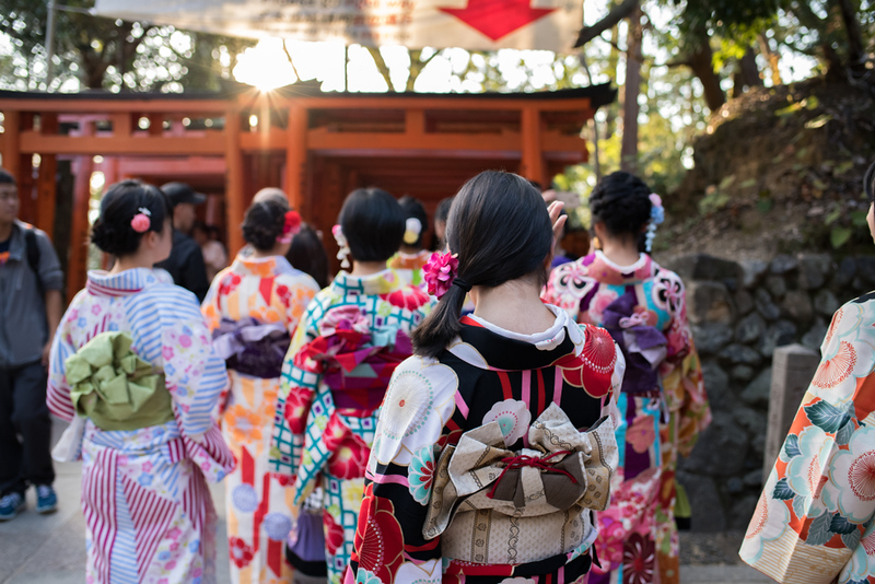 Girls in kimono at Fushimi-Inari-Taisha. Editorial credit: Michael Gordon / Shutterstock.com