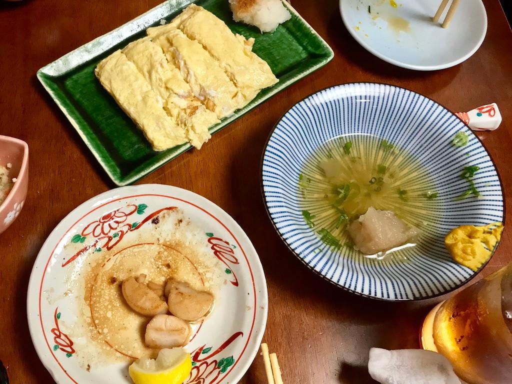 Dashimaki; the remnants of daikon radish oden; butter-shoyu scallops.