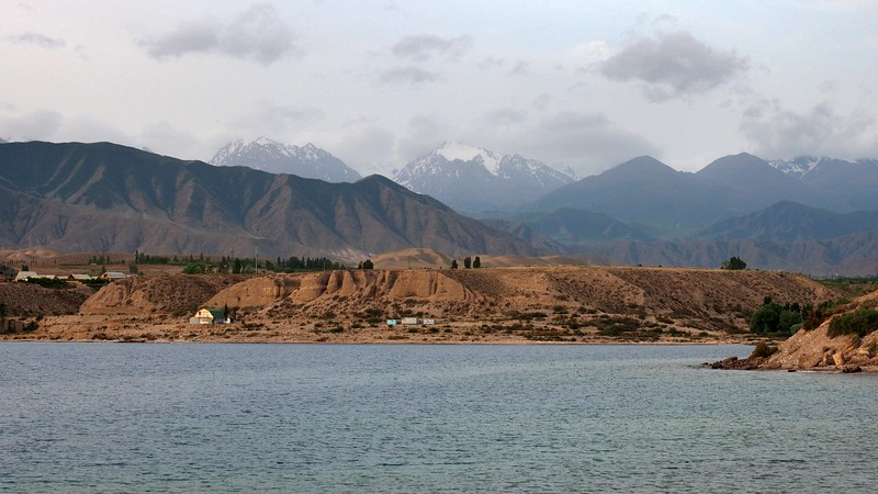 Issyk Kul Lake and mountains in the background.