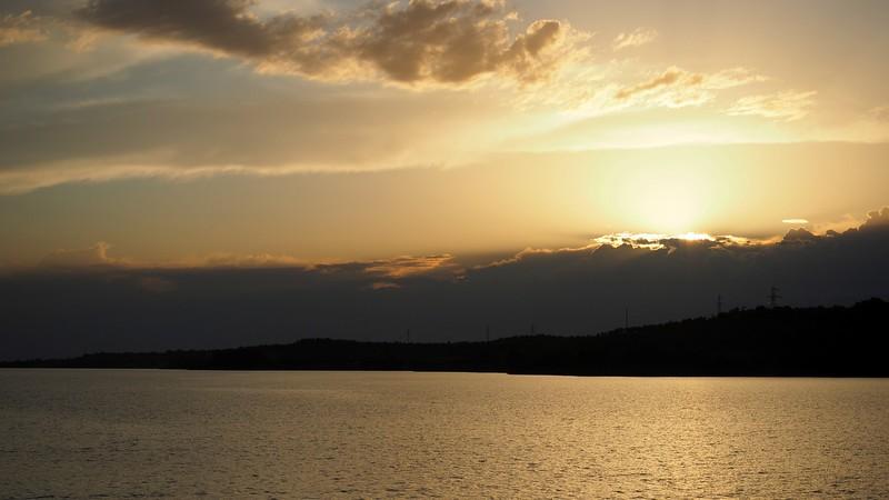 Sunset views during cruise on Lake Issyk-Kul Przhevalsky Bay in Karakol, Kyrgyzstan