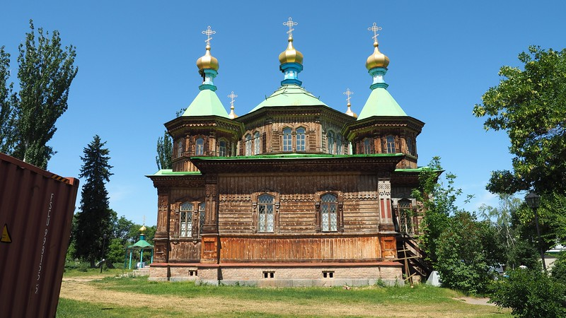 Holy Trinity Russian Orthodox Church wooden cathedral in Karakol, Kyrgyzstan