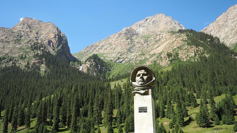 Yuriy Gagarin statue in Barksoon, Kyrgyzstan