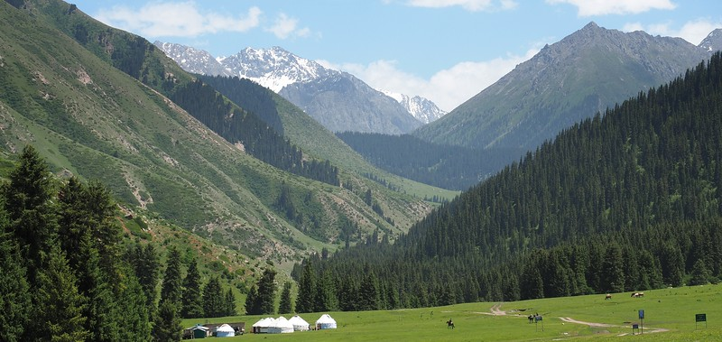 Stunning scenery of yurts with mountain backdrop in Kyrgyzstan