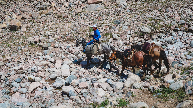 Challenging terrain while horse trekking.