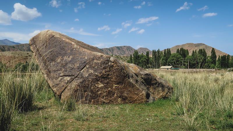 Seeing petroglyphs in Kyrgyzstan.