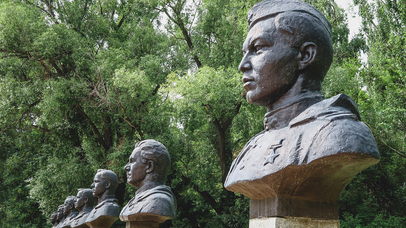 Monument busts at Victory Park and World War II Memorial in Karakol, Kyrgyzstan
