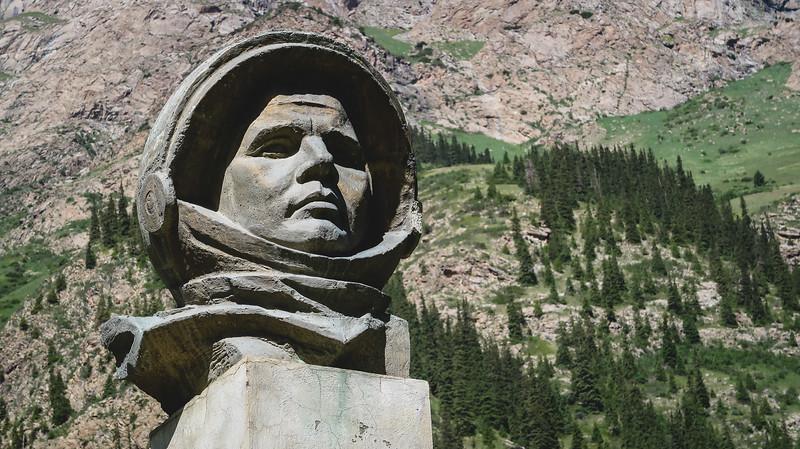 Yuri Gagarin Bust at the Barskoon Waterfalls