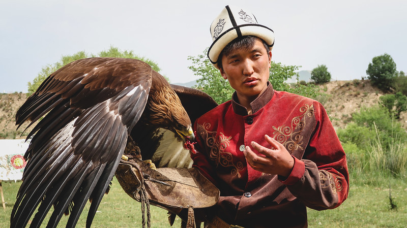 Learning about the tradition of hunting with golden eagles in Kyrgyzstan.