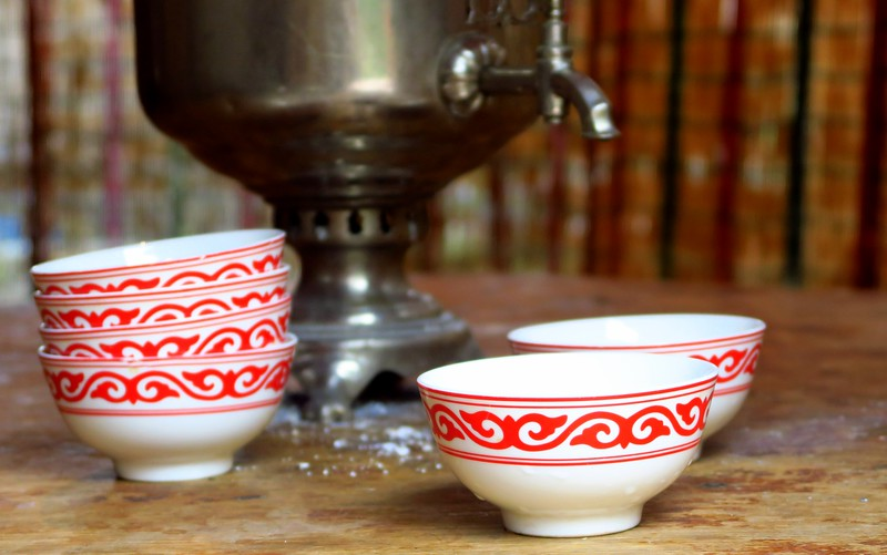 Food and drink in Kyrgyzstan - tea plays a major role in hospitality.