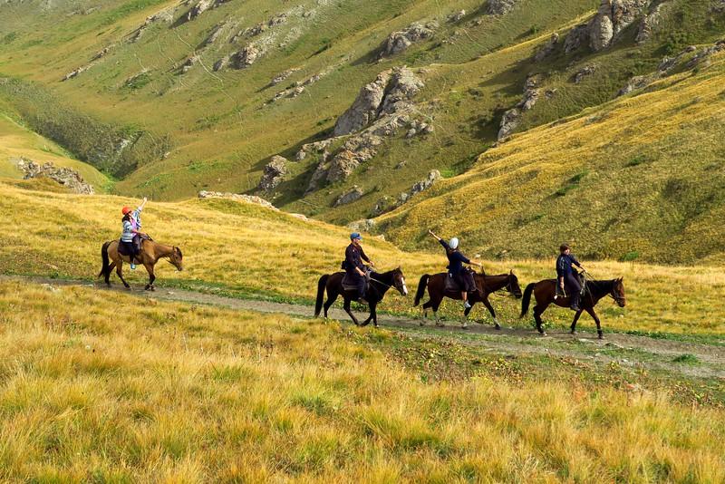 The horse trek to Song Kol Lake.