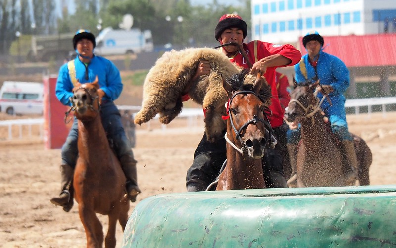 A professional Kok Boru player from Kyrgyzstan about to score a goal during a Kok Boru match at the World Nomad Games