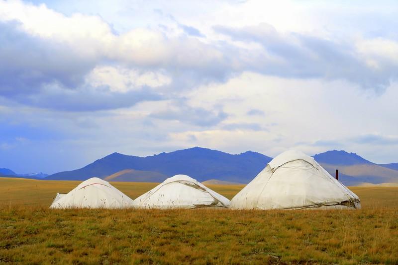Yurt camp in Song Kol Lake, Kyrgyzstan.