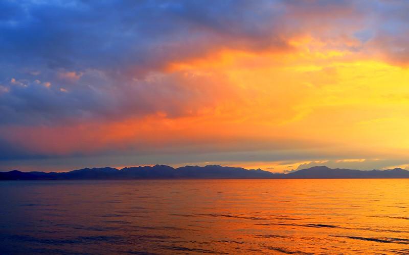 An intense sunset on Song Kol Lake.