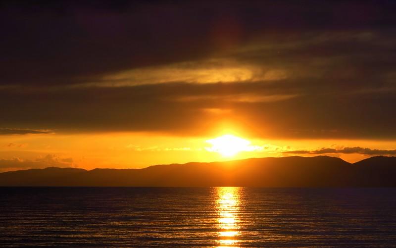The sun setting in Song Kol Lake.