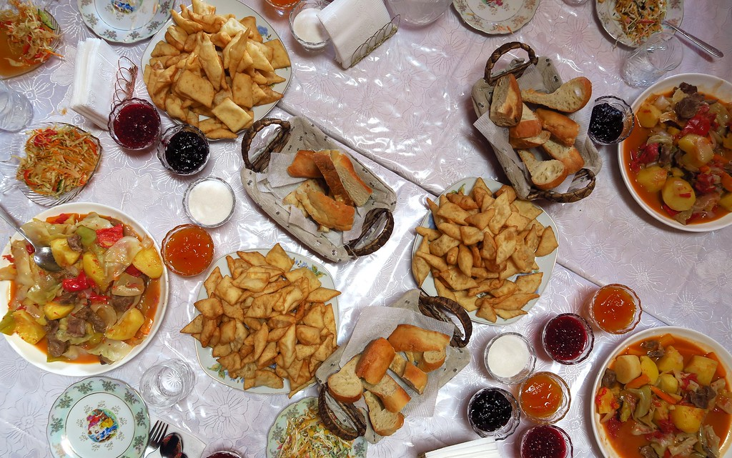 Here is an overhead shot of the various kinds of breads and jams you have at a typical Kyrgyz meal