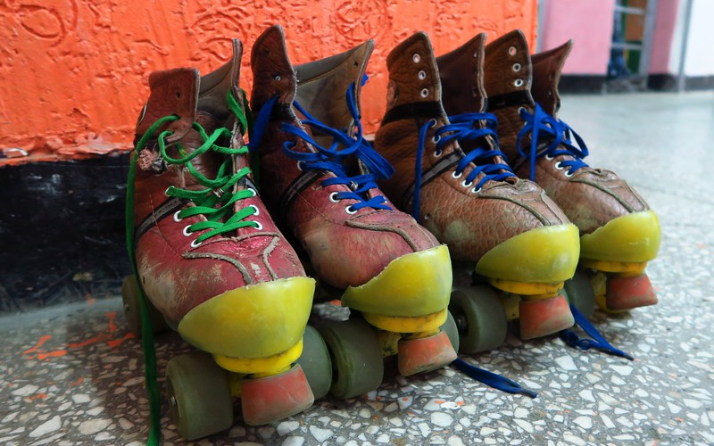 Our pair of roller skates that we put on to go rollerskating in Bishkek, Kyrgyzstan