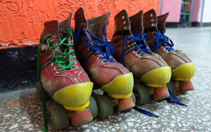 Our pair of roller skates that we put on to go rollerskating in Bishkek, Kyrgyzstan