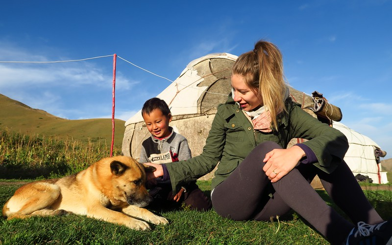Doing a local yurt stay on our way to Song Kol Lake, Kyrgyzstan.