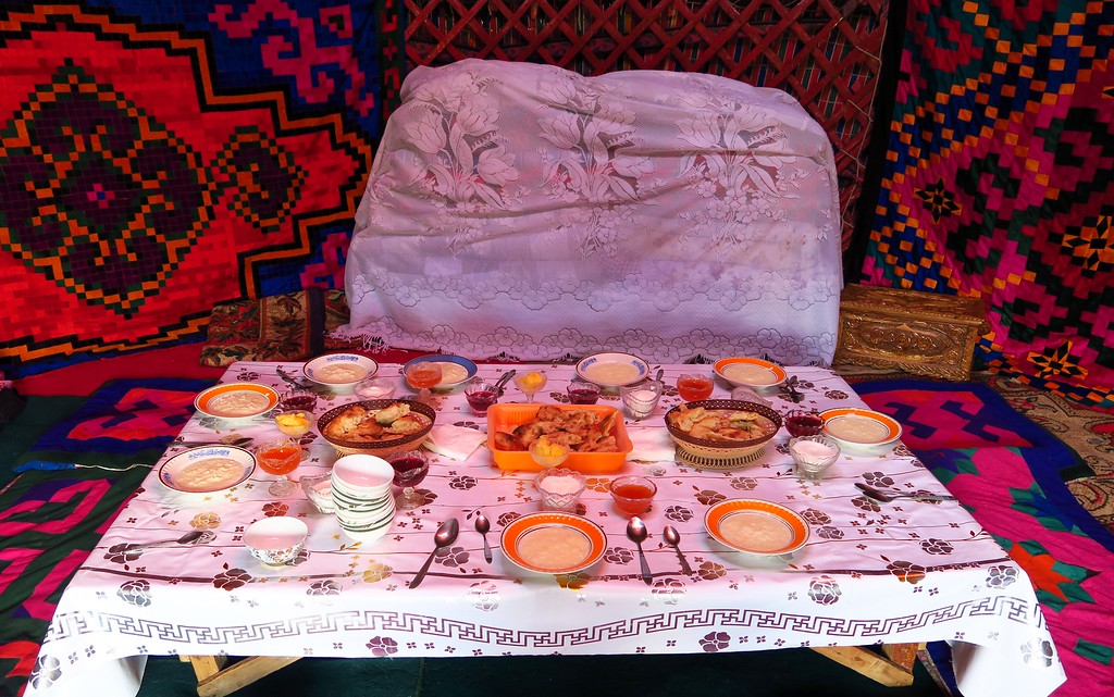 Krygyz traditional food prepared in a yurt prior to the main dishes arriving
