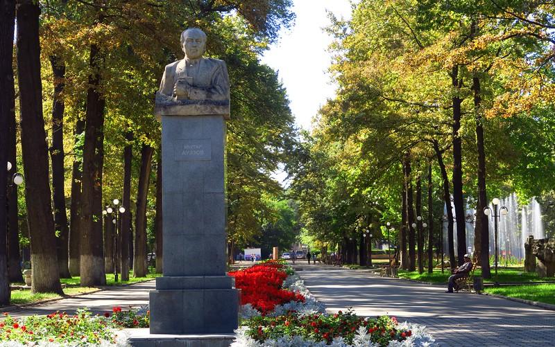 Views of Erkindik Park during a quiet weekday afternoon in Bishkek, Kyrgyzstan
