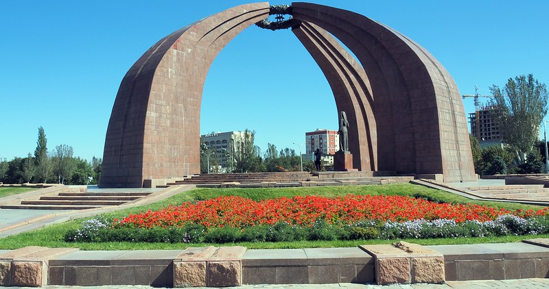 Views of Victory Square Memorial Park in Bishkek, Kyrgyzstan