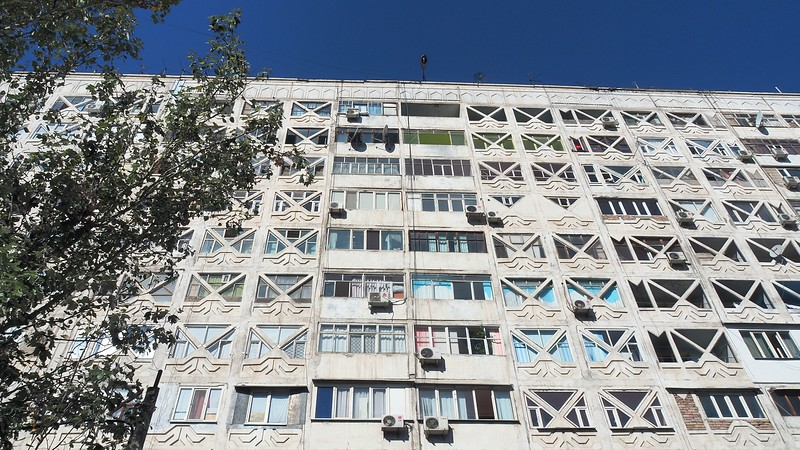 Our soviet era apartment building where we stayed in Bishkek, Kyrgyzstan