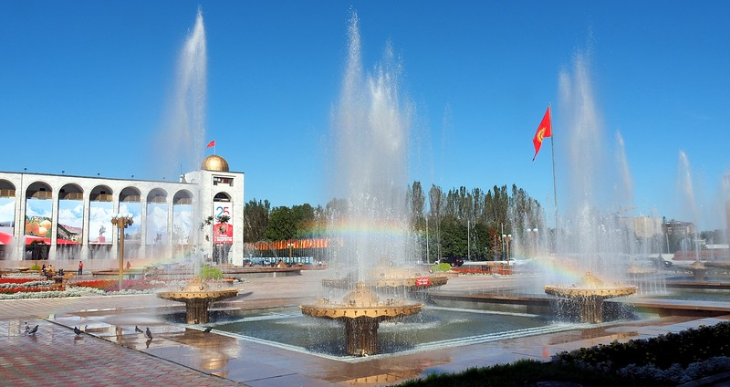 Views from Ala-Too Square on a gorgeous sunny day with a rainbow in Bishkek, Kyrgyzstan