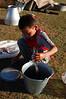 Preparing fish for dinner.
