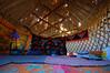 Inside our yurt.