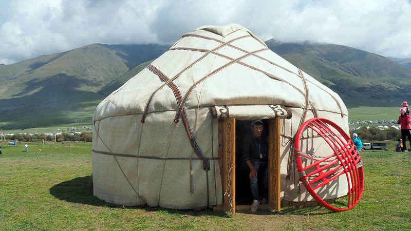 A traditional Kyrgyz yurt setup during the World Nomad Games in Kyrgyzstan