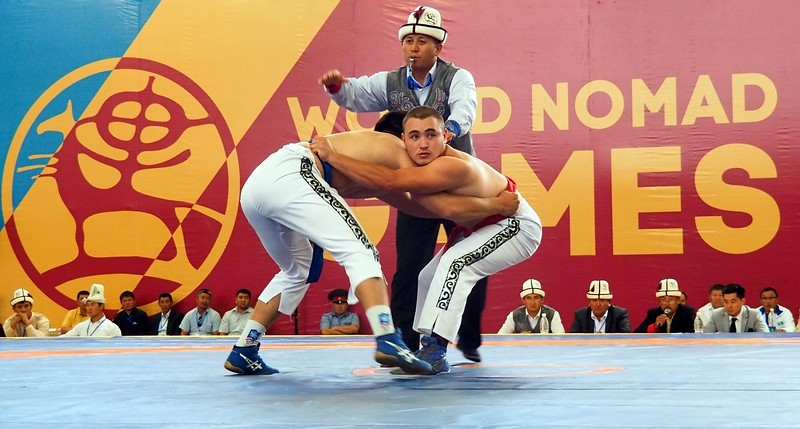 Wrestling event at the World Nomad Games in Kyrgyzstan between two men