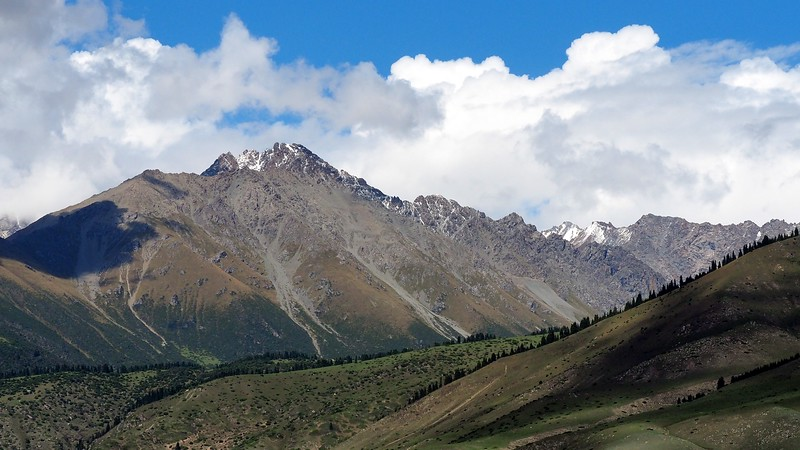 Gorgeous mountain backdrop at the sporting event in Kyrgyzstan