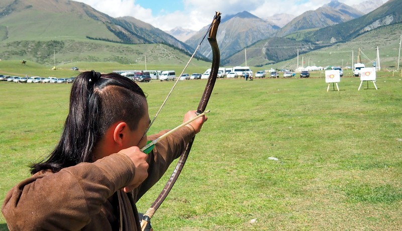 A man practicing archery at the World Nomad Games in Kyrgyzstan