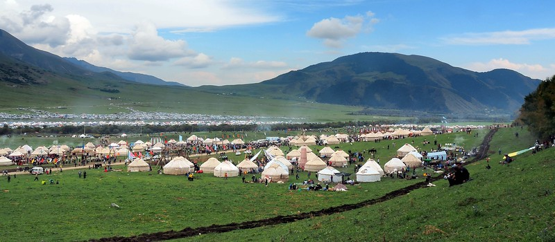 A high vantage point view of all of the yurt camp during the World Nomad Games in Kyrgyzstan