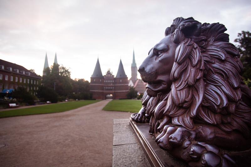 Guarding lion, Christian Daniel Rauch, Holsten Gate (field side) , Holstentor, city gate, Brick Gothic, medieval