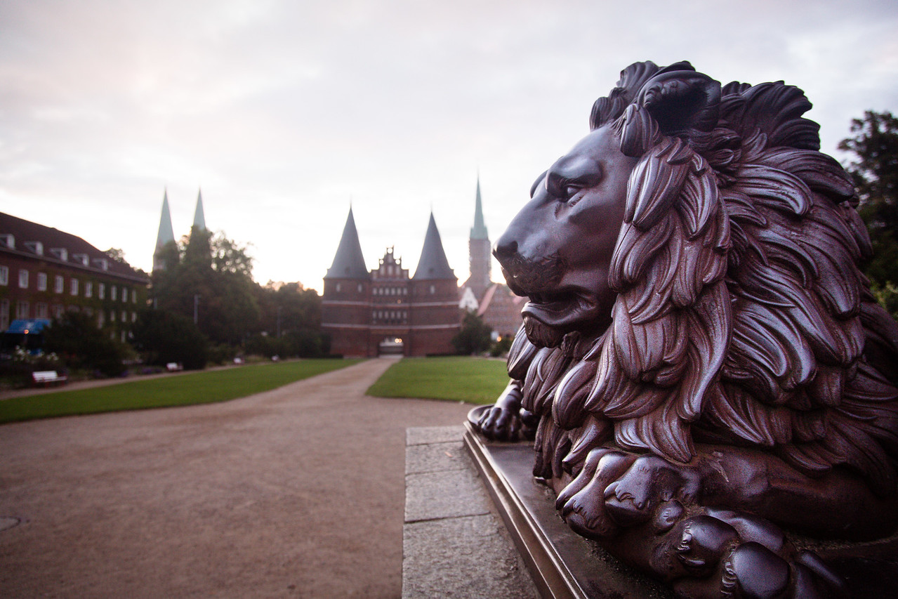 Guarding lion, Christian Daniel Rauch, Holsten Gate (field side) , Holstentor, city gate, Brick Gothic, medieval