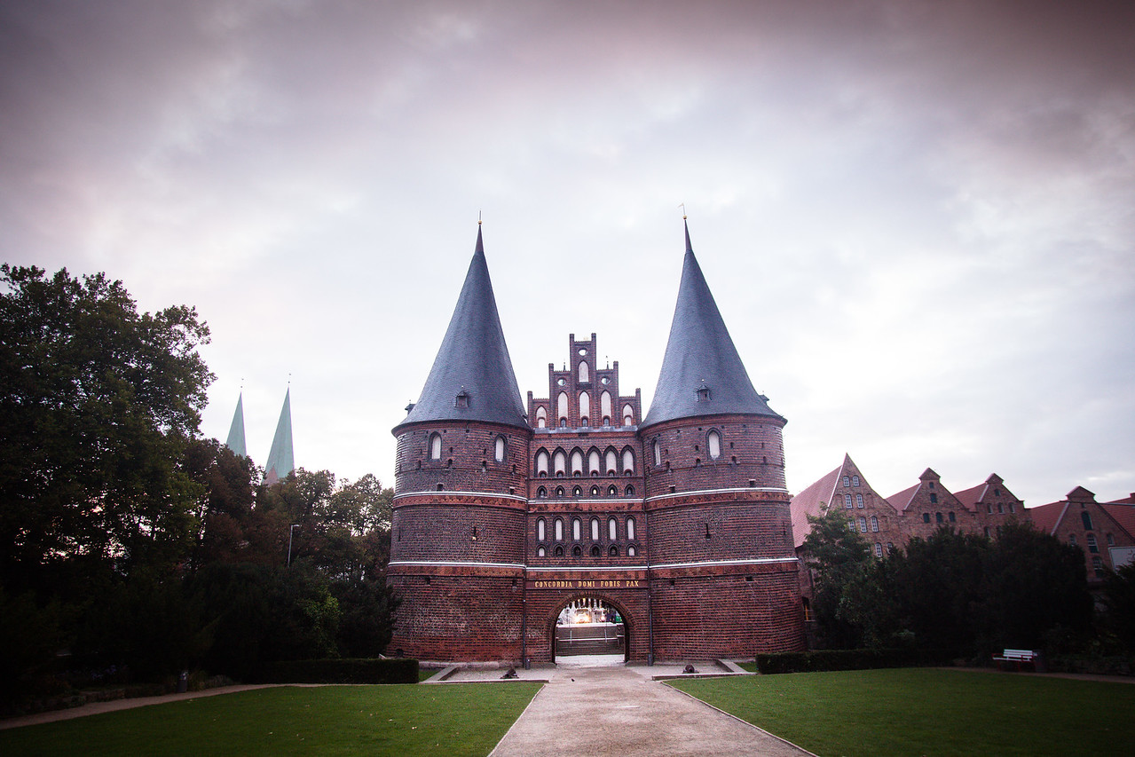 Holsten Gate (field side) , Holstentor, city gate, Brick Gothic, medieval