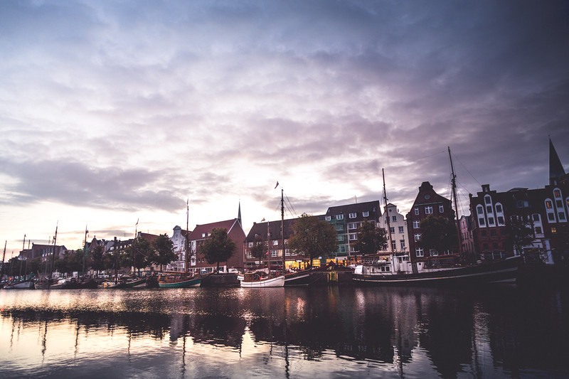 Lübeck; the Hanseatic city, Trave, Brick Gothic, Schleswig-Holstein, northern Germany,
