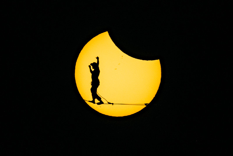 1725 was a personal job to capture high lining under the eclipse in Oregon's Smith Rock National park next to the Monkey's fist.   Athletes: Ryan Robinson & Garrison Rowland.