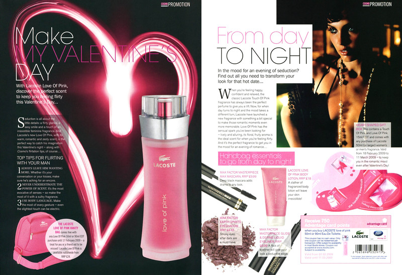 LACOSTE Love of Pink 2009 UK (2 consecutive pags) 'Cosmo Promotion - Make my Valentine's Day - From day to night'