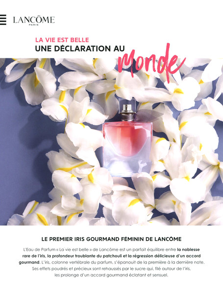 LANCÔME La Vie Est Belle Eau de Parfum 2016 France spread (Sephora stores) 'Une déclaration au monde - Le premier iris gourmand féminin de Lancôme'