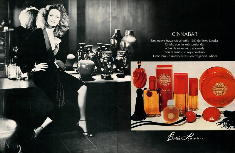 ESTÉE LAUDER Cinnabar 1978-1979 Spain spread 'Una nueva fragancia al estilo 1980'