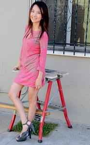 beautiful woman model red dress 104..
